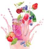 Smothie im Weckglas auf yougurt Spritzenhintergrund Lizenzfreies Stockbild