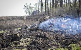 Smouldering стерня в поле с малым горением огня Стоковое Изображение RF