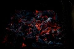 Smouldering угли на лагерном костере барбекю Стоковое Изображение RF