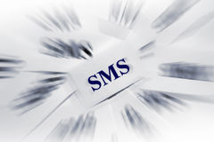 SMS. Many pieces of paper with special text on it Royalty Free Stock Images