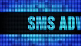 SMS Advertising Front Text Scrolling LED Wall Pannel Display Sign Board. SMS Advertising Front Text Scrolling on Light Blue Digital LED Display Board Pixel Light stock video