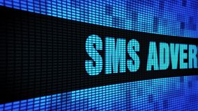 SMS Advertising Side Text Scrolling LED Wall Pannel Display Sign Board. SMS Advertising Side Text Scrolling on Light Blue Digital LED Display Board Pixel Light stock video