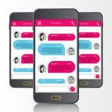Sms budbärare bubbles mer mitt portföljsetsanförande Telefonpratstundmanöverenhet vektor Arkivbild