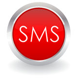 Sms button. Isolated on white Stock Photos