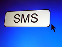 SMS Button. Screen Shot, pixelation effect Stock Photos
