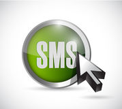 Sms button and cursor illustration design Stock Photos