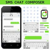 SMS Chat Composer. Smartphone chatting sms template bubbles. Vector illustration Stock Image