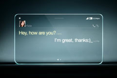 Sms chat on transparent tablet with blue background Stock Image