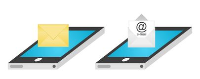 SMS and e-mail on smartphone. Illustration of smartphones with SMS and e-mail services. Vector available Stock Image