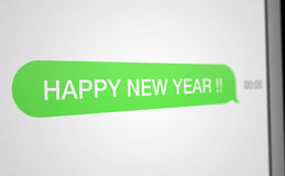 SMS Happy New Year. Illustration of SMS reception at midnight for the New Year Royalty Free Stock Photography