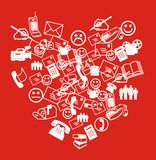 SMS Heart. Collage. White symbols heart with smiles and letters Royalty Free Stock Image