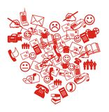 SMS Heart. Collage. White symbols heart with smiles and letters Stock Photo