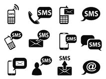 Sms icons set. Isolated sms icons set from white background Stock Images