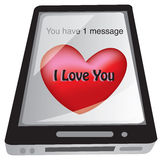 SMS Love Message on Smart Phone Stock Image