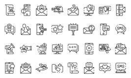 Sms marketing geplaatste de pictogrammen, schetsen stijl royalty-vrije illustratie