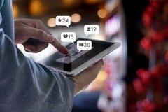 sms media man use smart phone social media network pop notifica stock photography