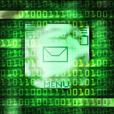 Sms message mobile phone. Binary code illustration Royalty Free Stock Photos