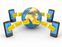 Sms messages, mobile phone and earth. SMS voting Stock Photography