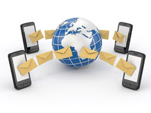 Sms messages, mobile phone and earth. SMS voting stock illustration