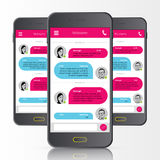 Sms messenger. Speech bubbles. Phone chat interface. Vector. Illustration Stock Photography