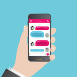 Sms messenger. Speech bubbles. Phone chat interface. Vector Stock Photos