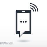 SMS mieszkania ikona Szyldowy telefon komórkowy Wektorowy logo dla sieć projekta, wiszącej ozdoby i infographics, Fotografia Royalty Free