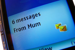 Sms from mum Stock Photography