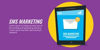 Sms marketing - mobile email marketing - notification. Flat design vector banner. Sms notification on a smart phone, sms marketing concept, networking Stock Image