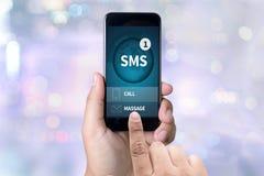SMS-Overseinen Communicatie Bericht Waakzame Herinnering sms Royalty-vrije Stock Afbeeldingen