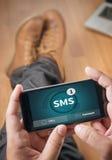 SMS-Overseinen Communicatie Bericht Waakzame Herinnering sms Stock Foto