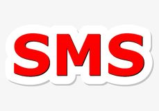 SMS red sign Royalty Free Stock Photography