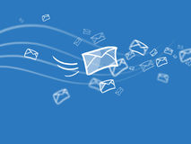 Sms sending. Many of messages flying in the air Royalty Free Stock Photo