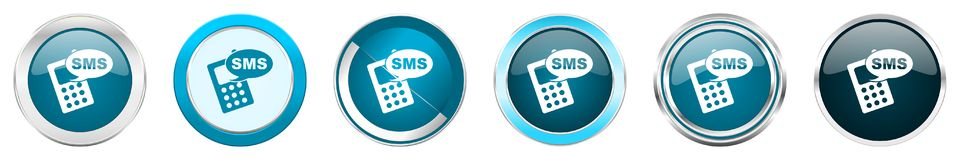Sms silver metallic chrome border icons in 6 options, set of web blue round buttons isolated on white background royalty free stock photography