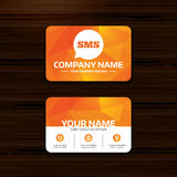 SMS speech bubble icon. Information symbol. Business or visiting card template. SMS speech bubble icon. Information message symbol. Phone, globe and pointer Royalty Free Stock Photography