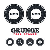 SMS speech bubble icon. Information symbol. Royalty Free Stock Images
