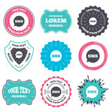SMS speech bubble icon. Information symbol. Label and badge templates. SMS speech bubble icon. Information message symbol. Retro style banners, emblems. Vector Royalty Free Stock Photo