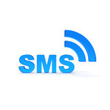 SMS. Text in blue color Stock Photos