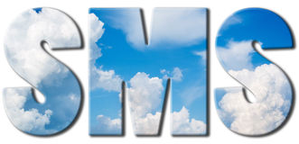SMS text of blue sky and big clouds Royalty Free Stock Image