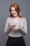 Sms - woman calling by phone Royalty Free Stock Photos