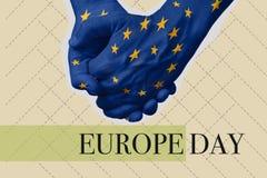 Smsa den Europa dagen i en samtida konstcollage royaltyfri fotografi