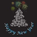 Smsa det lyckliga nya året med fyrverkerier och julgranen Royaltyfria Foton