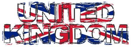 Smsa FÖRENADE KUNGARIKET med den brittiska Union Jack flaggan under den, bekymrad grungeblick stock illustrationer
