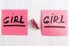 Smsa flickan på rosa klistermärke med det lilla stiftet Arkivbild