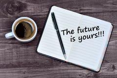 Smsa framtiden är din på anteckningsboken Fotografering för Bildbyråer