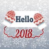 Smsa Hello 2018 på vinterbakgrund med tumvanten Royaltyfria Foton