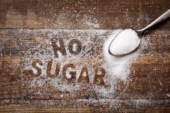 Smsa inget socker som är skriftligt med socker Royaltyfri Bild