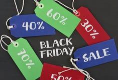 Smsa svarta fredag och etiketter med olika procentsatser Royaltyfri Fotografi