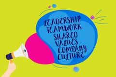 Smsa tecknet som visar Ledarskap Teamwork Dela Värdera Företag kultur Team Success Man för begreppsmässig fotogrupp hållande mega royaltyfri illustrationer