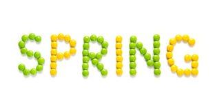 Smsa våren av godisen på isolerad vit bakgrund Arkivbild