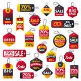 Smsar röda baner för toppen bonus för försäljning extra illustrationen för vektorn för erbjudandet för rabatten för befordran för stock illustrationer
